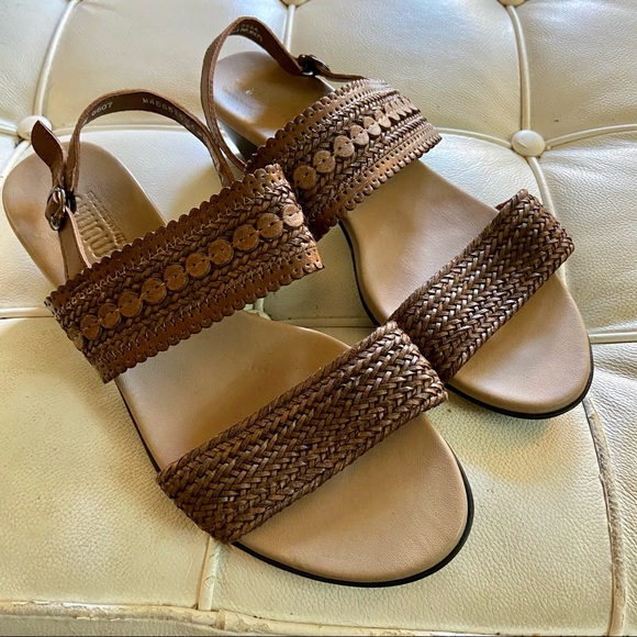 Munro comfort sandals brown leather sz 9 wide new